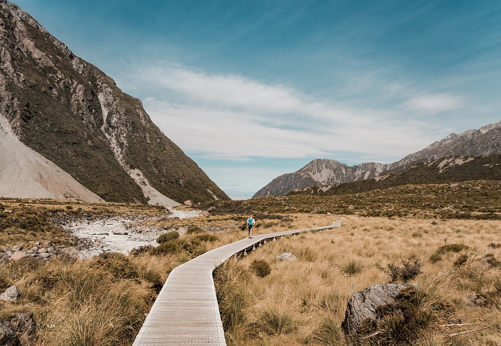 Man walking in New Zealand wilderness, journey.