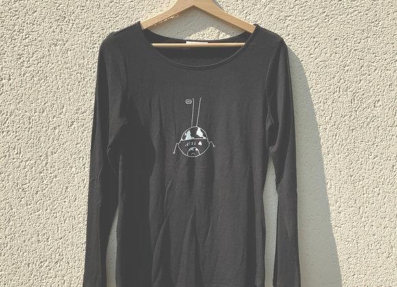 T-shirt manches longues noir planète