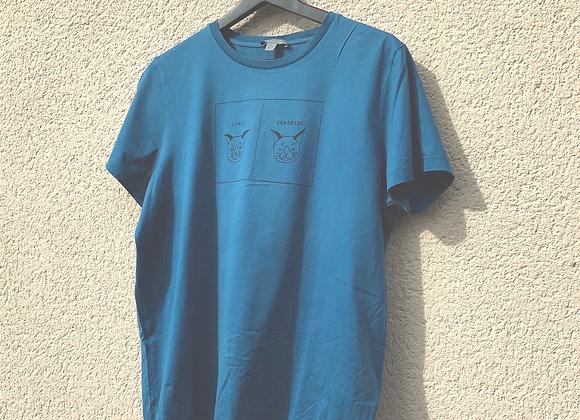 T-shirt bleu satin cat