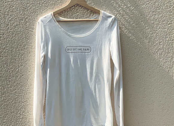 T-shirt manches longues blanc fripe