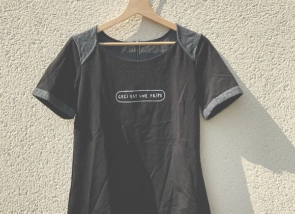 T-shirt noir fripe