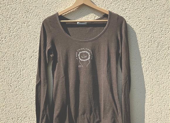 T-shirt manches longues marron fleur