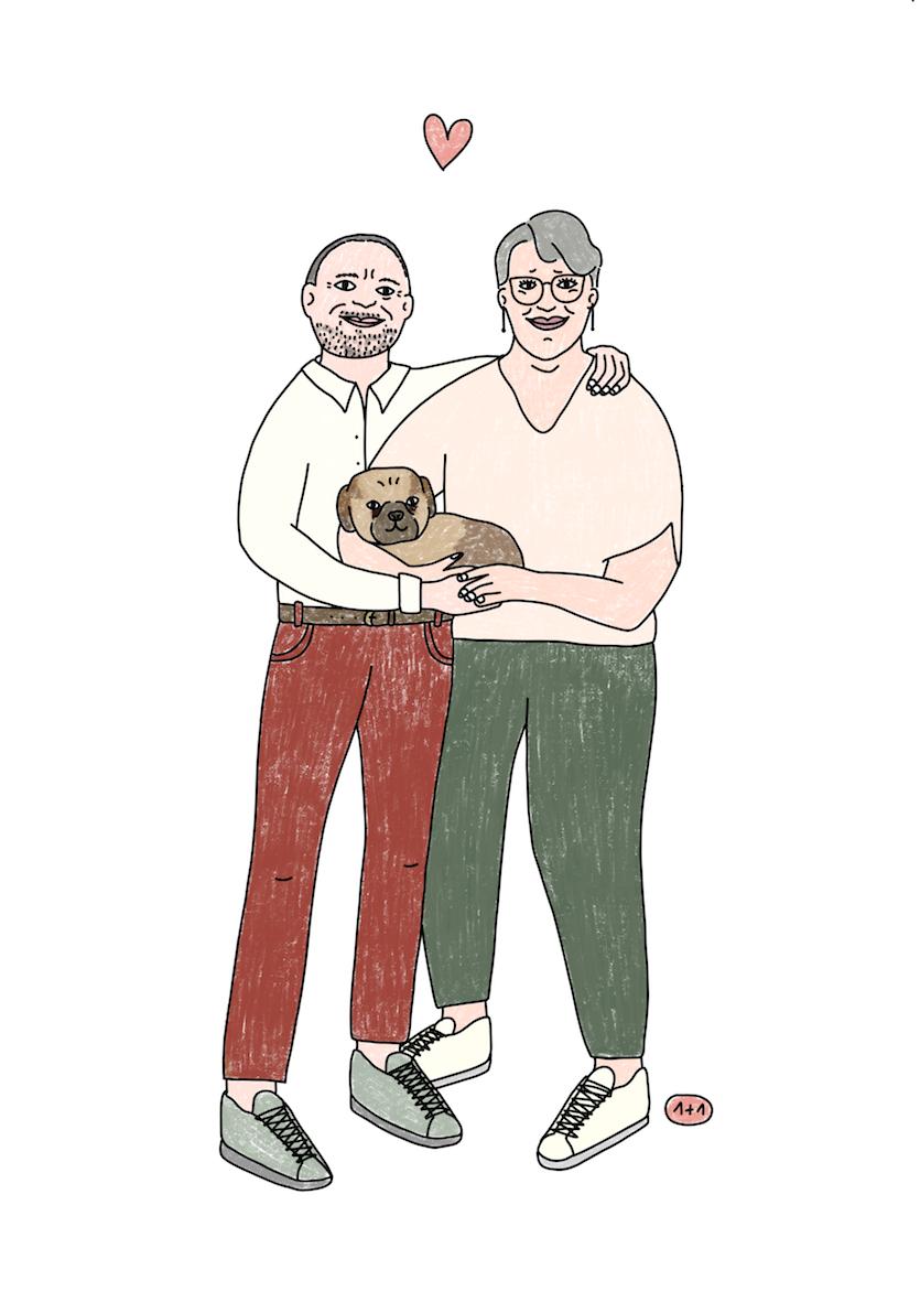 Couple et leur tit dog