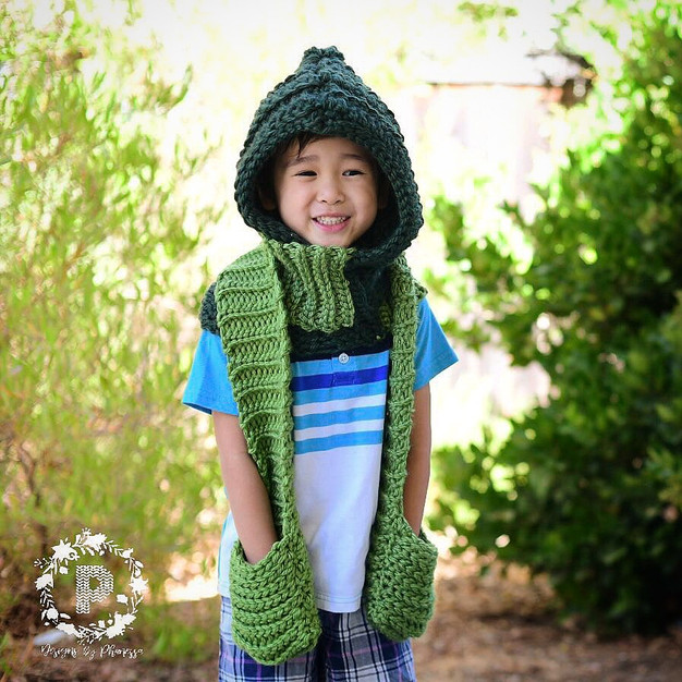 Crochet Hooded Scarf Pattern Tutorial