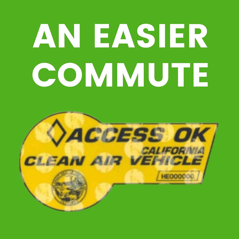 Clean Air Vehicle decal with caption An Easier Commute