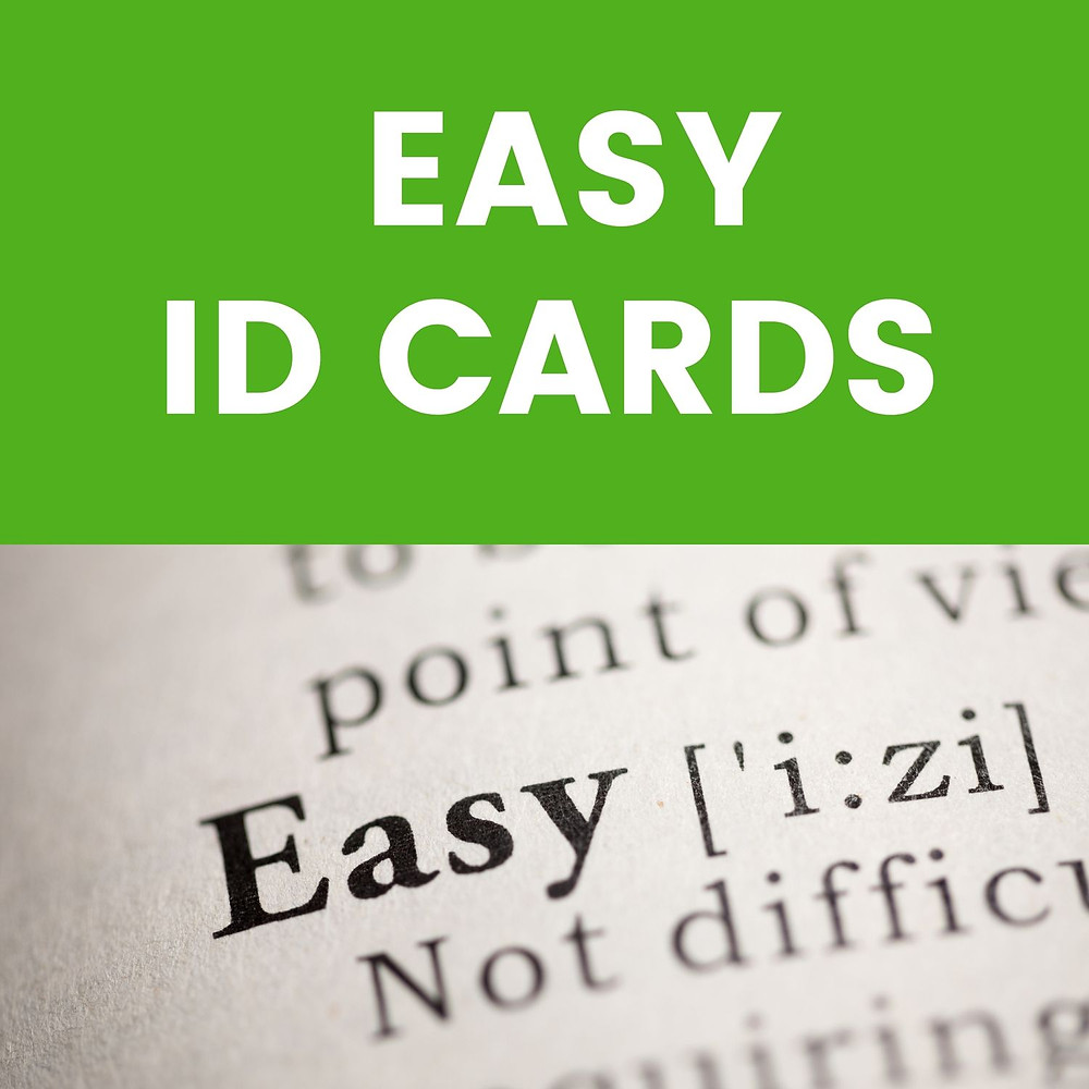 Dictionary page showing Easy with the caption at the top of Easy ID Cards