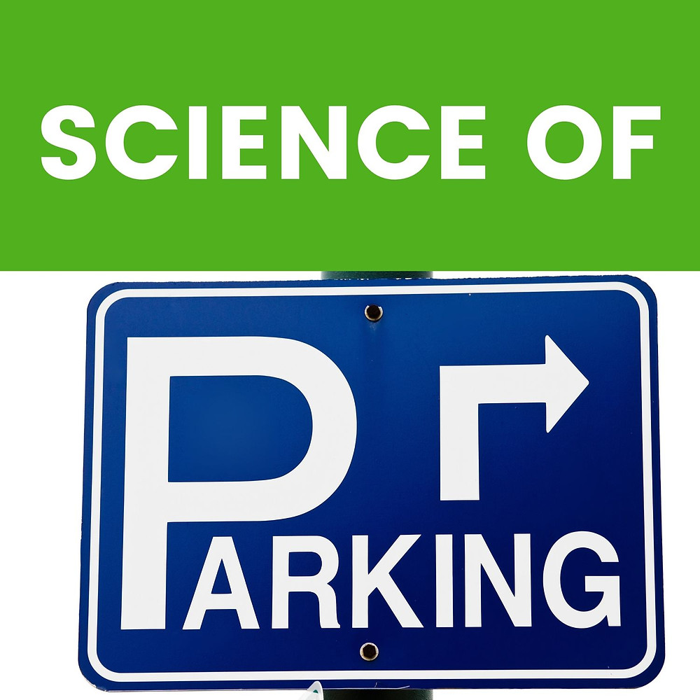 """TEXT """"SCIENCE OF"""" FOLLOWED BY A STREET SIGN FOR PARKING"""