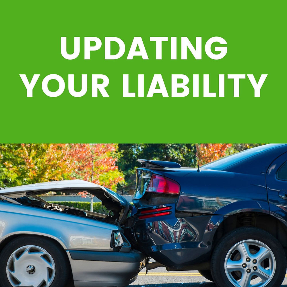 Car crash with Updating Your Liability headline