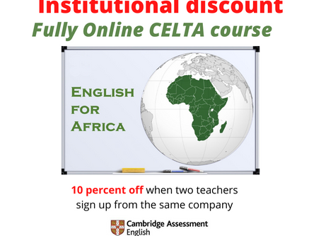 Institutional discount for our fully online CELTA course