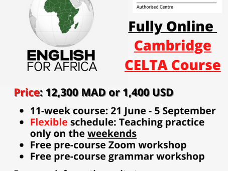 Our Next Fully Online CELTA Courses Starts June 21