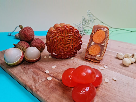 Fruity Lychee White Lotus with Golden Double Egg Yolk Mooncake