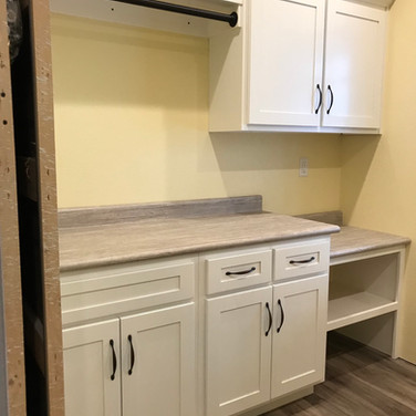 (45) White Laundry Room w Laundry Basket space