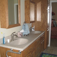 (17) Oak Bathroom cabinets