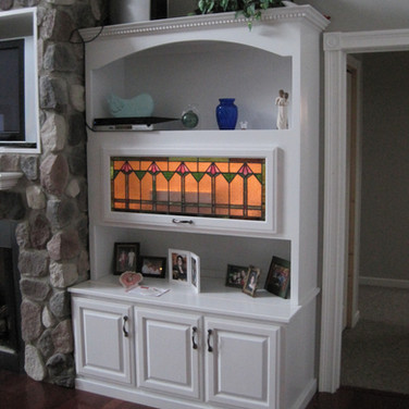 (9) Painted Living Room Cabinets