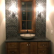 (19) Chocolate Spice Powder Room Vanity