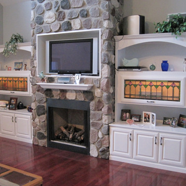 (8) Painted Living Room Cabinets