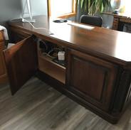 (4) Nutmeg stain with Black glaze desk