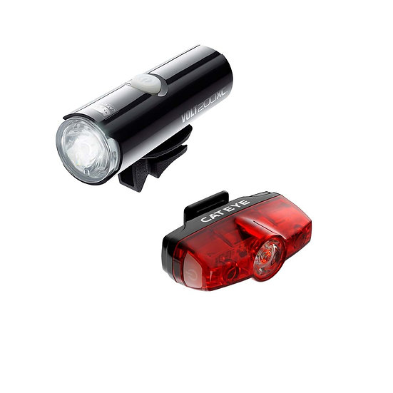 CATEYE VOLT 200 XC FRONT LIGHT & RAPID MINI REAR USB RECHARGEABLE LIGHT SET