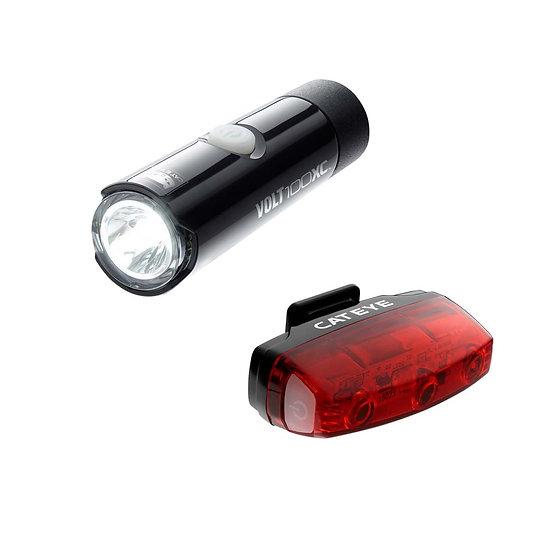 CATEYE VOLT 100 XC FRONT LIGHT & RAPID MICRO REAR USB RECHARGEABLE LIGHT SET