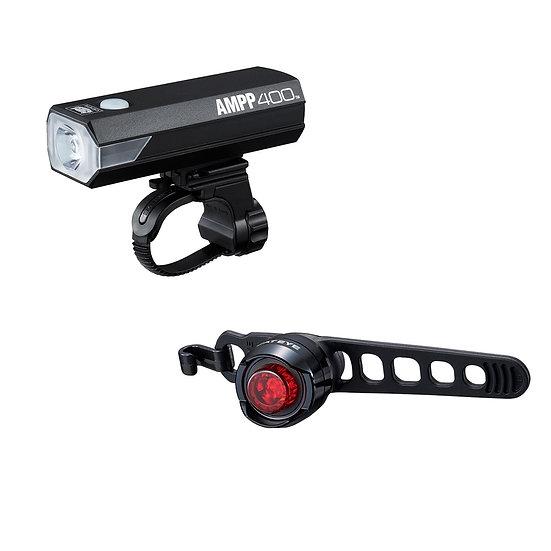 CATEYE AMPP 400 FRONT LIGHT & ORB REAR USB RECHARGEABLE LIGHT SET