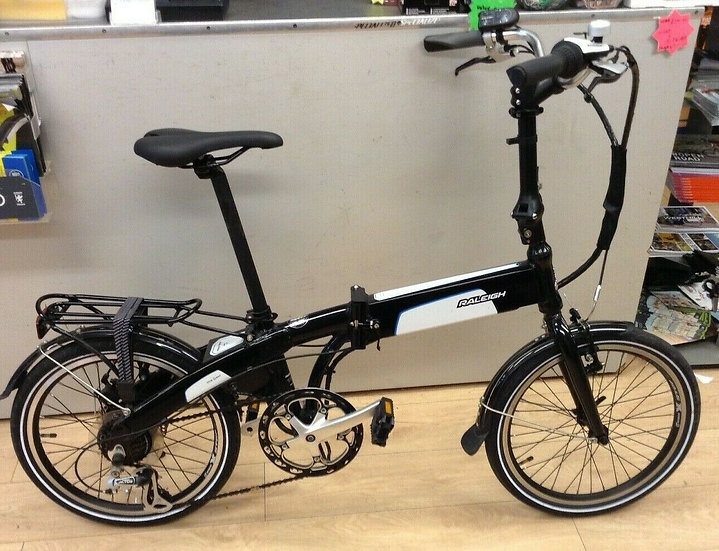 "Second Hand Raleigh Stoweway Electric Folding Bike/20"" Wheel/Black & White"