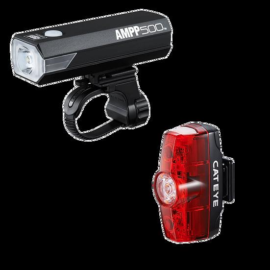 CATEYE AMPP 500 FRONT LIGHT & RAPID MINI REAR USB RECHARGEABLE LIGHT SET