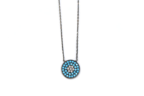 Love of turquoise affordable custom designed boutique jewelry from turquoise necklace turquoise pendant black silver jewelry gunmetal necklace geometric necklace mozeypictures Image collections
