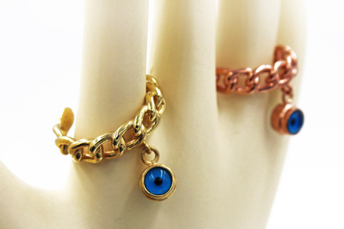 Yellow Gold Plated Silver Evil Eye Ring