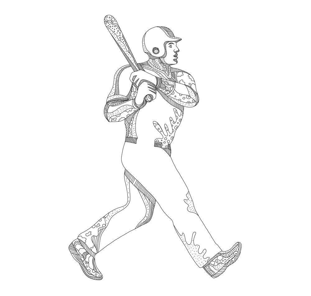 Baseball Player Batting Doodle