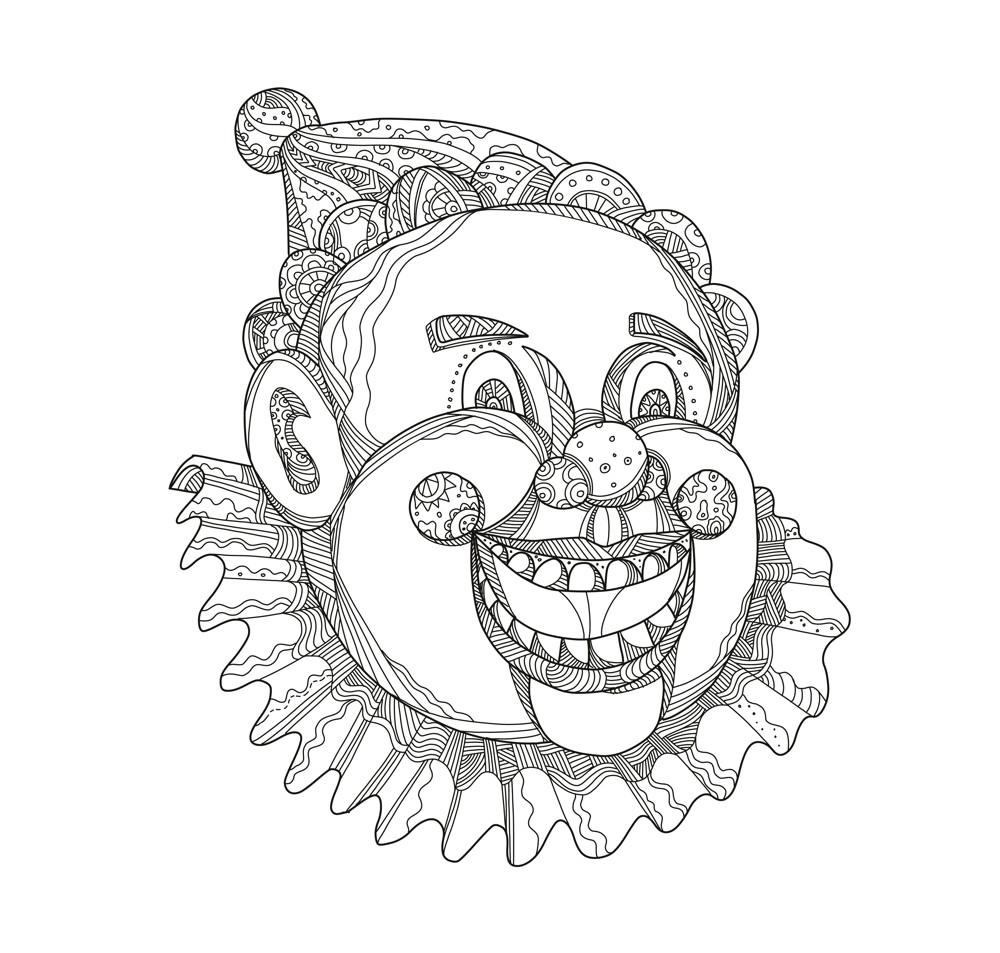 Vintage Circus Clown Head Doodle