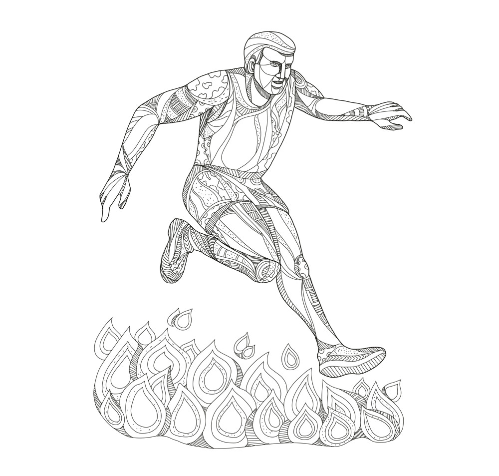 Obstacle Racer Jumping Fire Doodle Art
