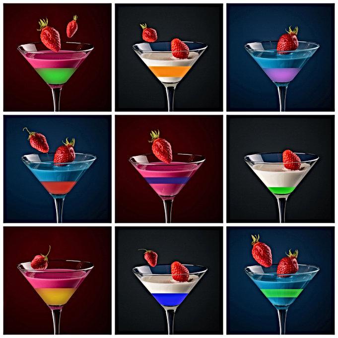 Cocktail en trois couleurs, série photos au format carré.