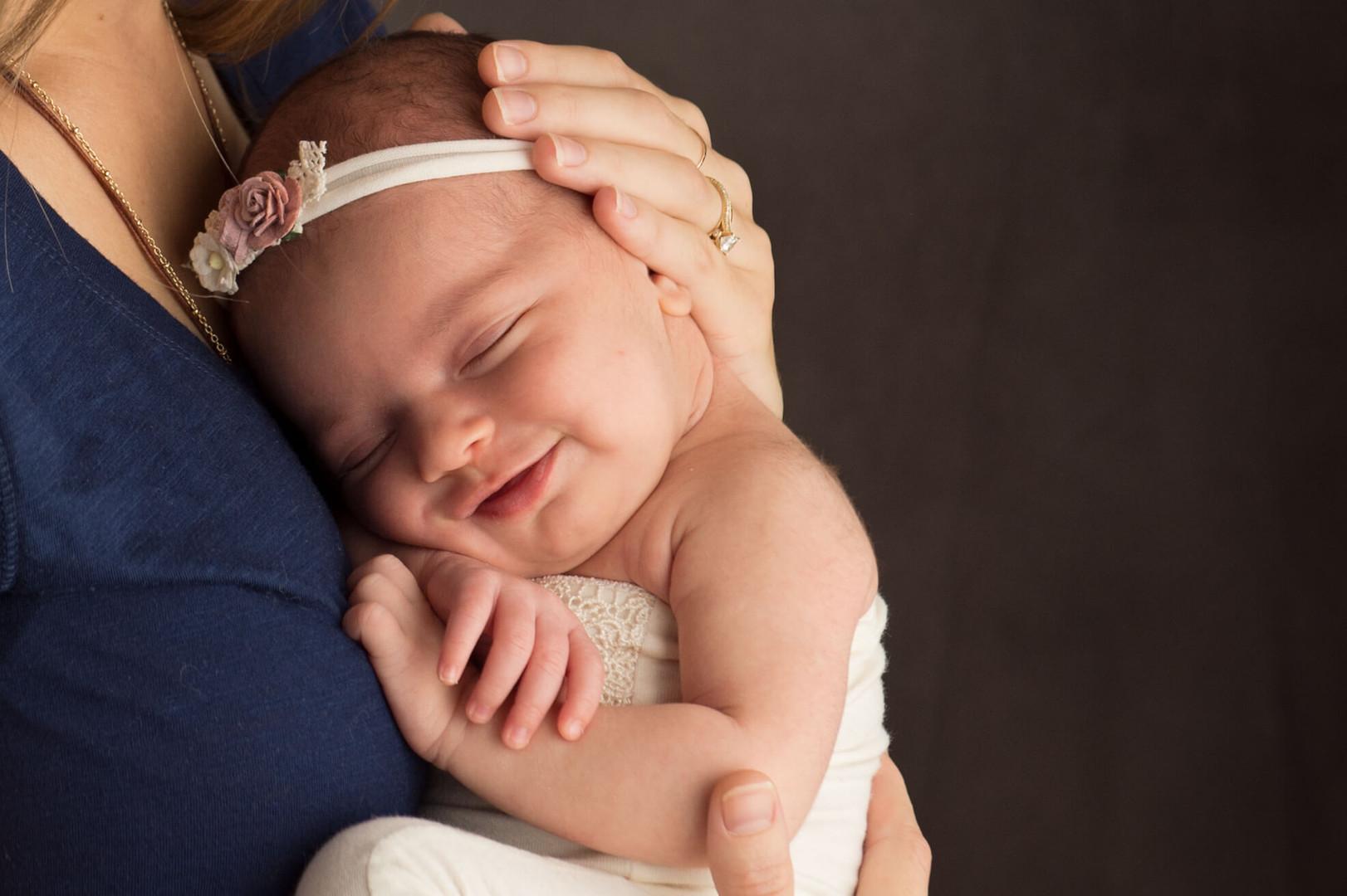 snuggled against mom