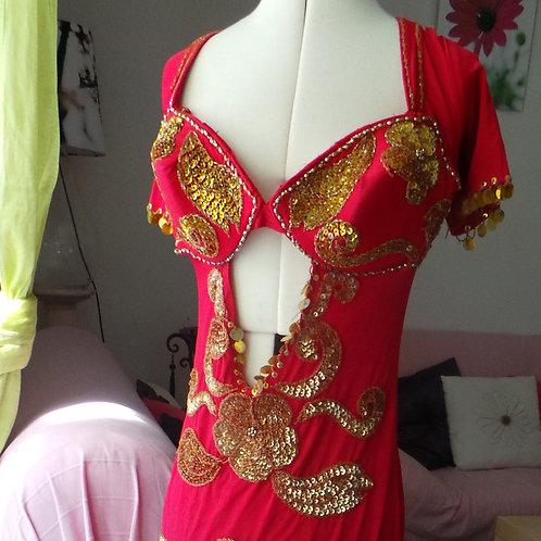 """Robe longue rouge et or Saidi Cabaret """"pro"""""""