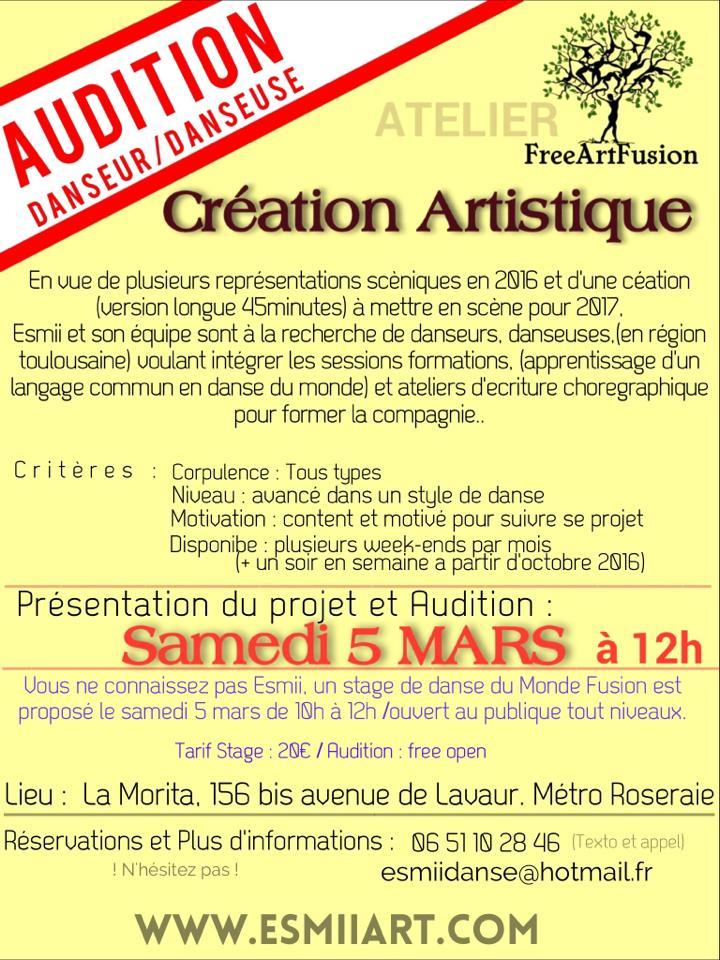 Audition projet Danse Toulouse