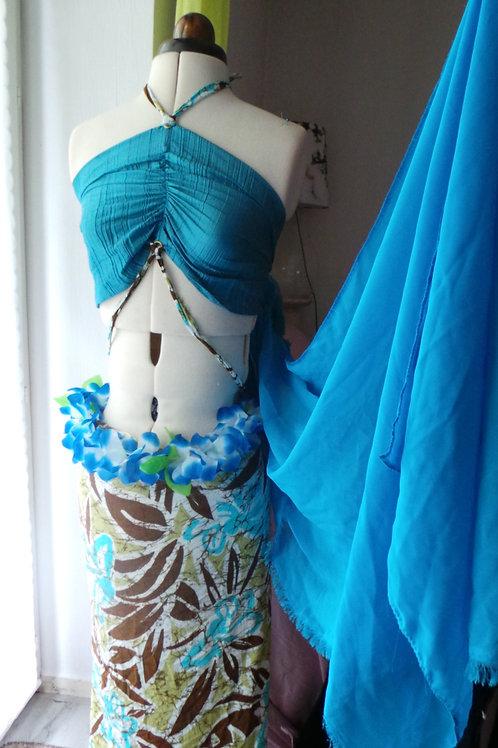 Costume polynésien Fusion voile pagne et top