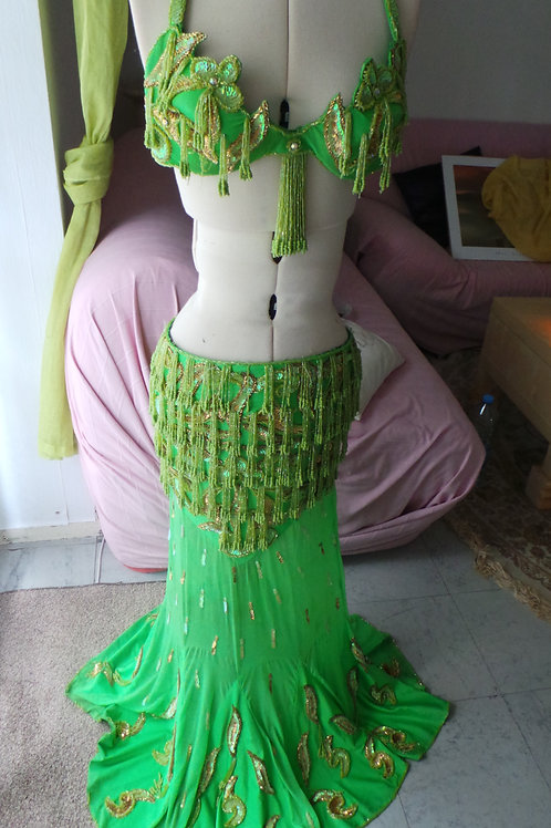 Costume professionnelle de scène Orientale Vert et Or