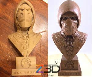 3D printed sculpture by Z3D in wood and stained