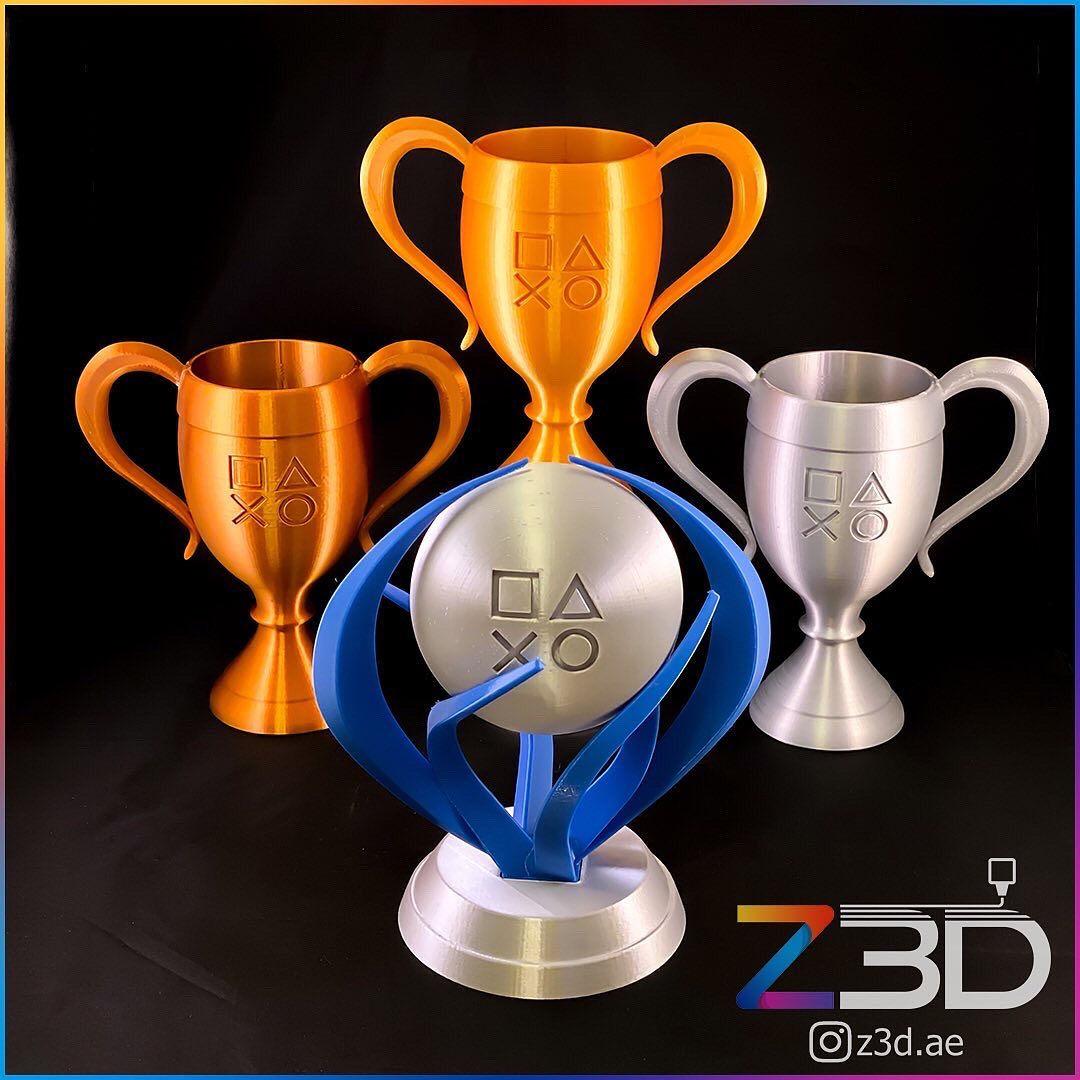 Custom 3D Printed Playstion trophies