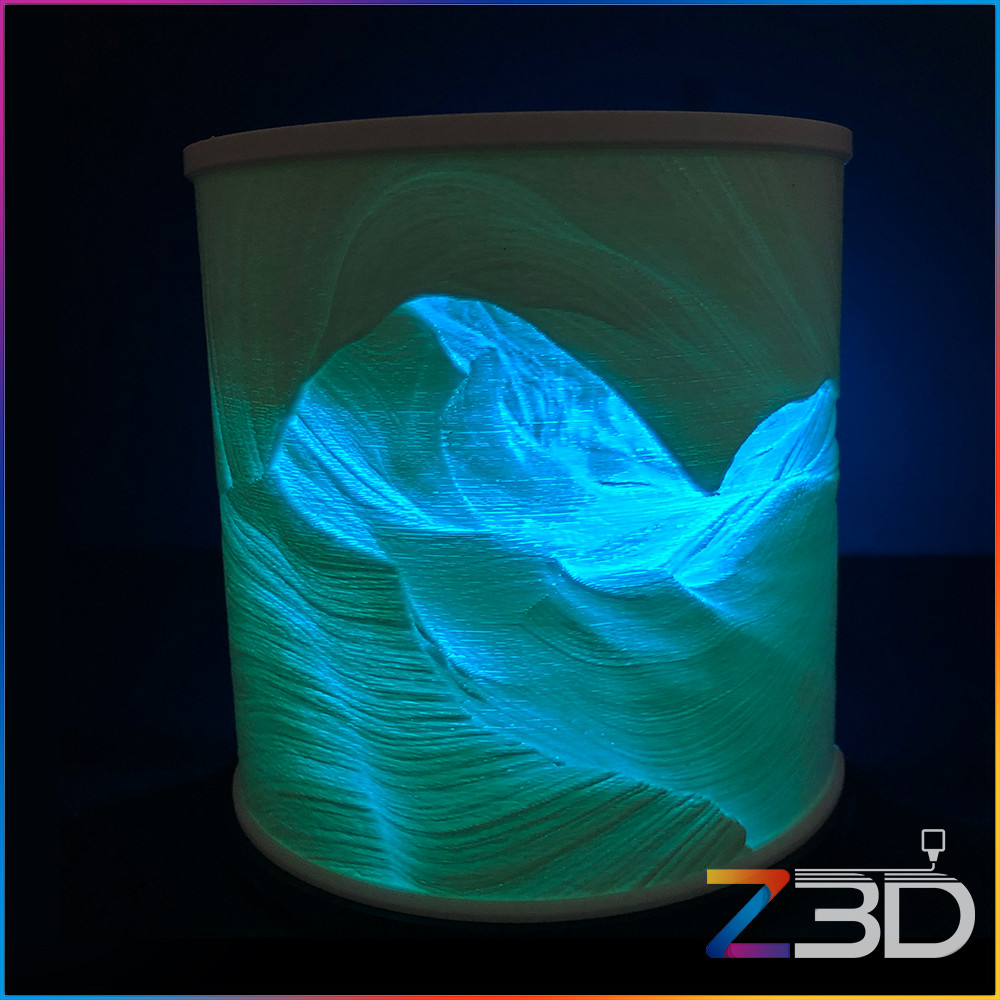 Lithophane printed by Z3D with Blue LED