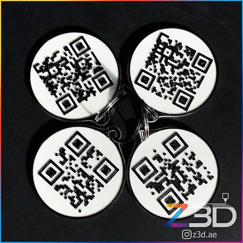 QR code keychain 3d printed