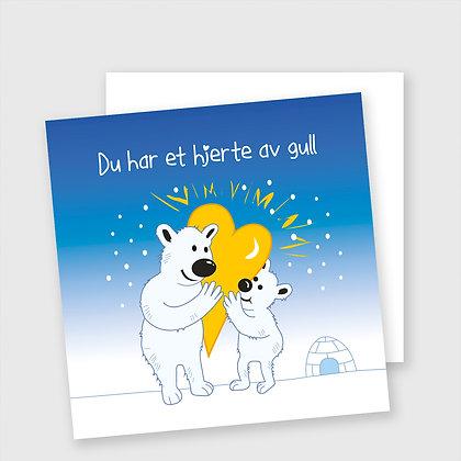 HJERTE AV GULL, dobbelt kort