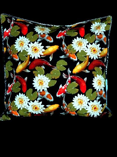 Printed' Lily Pad Koi' cushion cover