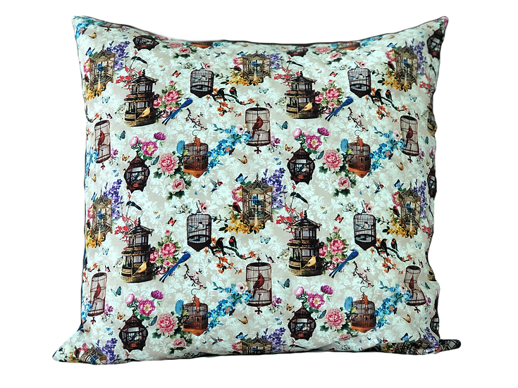 Printed 'Birdcages' cushion cover
