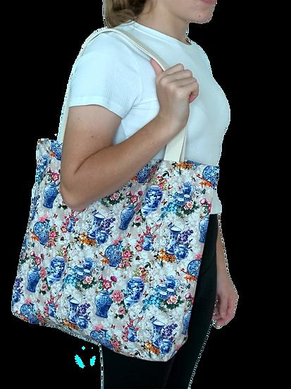 Printed 'Porcelain' tote bag