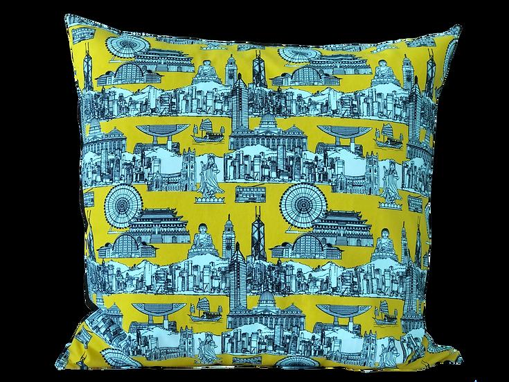 "Printed ""Landmarks' cushion cover"