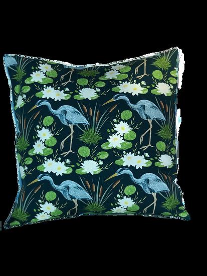 Printed 'Heron' cushion cover