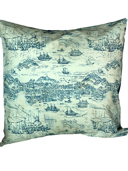 Printed 'Macau Harbour' cushion cover