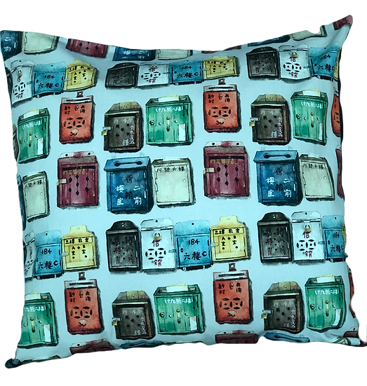 Printed 'Mailboxes' cushion cover