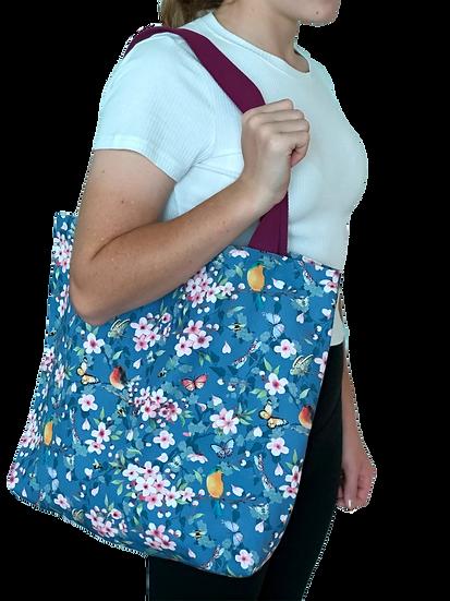Printed 'Dark Blue Sakura' tote bag